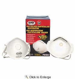 SAS Safety 8611  N95 Rated Particulate Respirator / Dust Mask with Exhalation Valve - 10 per Package