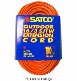 Satco 93-5007  100' Orange Light Duty Outdoor Extention Cord (16-3 SJTW-3)