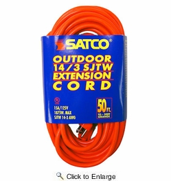 Satco 93-5009  50' Orange Medium Duty Outdoor Extention Cord (14-3 SJTW-3)