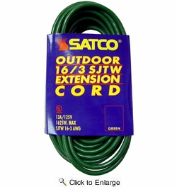 Satco 93-5024  25' Green Light Duty Outdoor Extention Cord (16-3 SJTW)