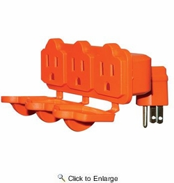 Satco 93-5042  3 Outlet Heavy Duty Adapter with Rainproof Covers
