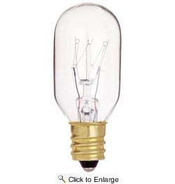 Satco S4718  130-Volt 15 Watt Candle Base T7 Clear Appliance Light Bulb