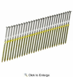 "Senco GL24ASBS  2-3/8"" x 0.113 HDG Ring Shank 20° Plastic Strip Full Round Head Framing Nails - 2500 per Package"
