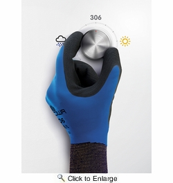 Showa 306  Breathable and Water Repellant Fully Coated Latex Grip Gloves  - Large