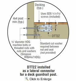 "Simpson Strong Tie DTT2Z  Deck Post Connector with 1-1/2"" SDS Screws"