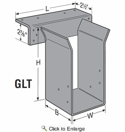 "Simpson Strong Tie GLT4-H11.875  3-1/2"" x 11-7/8"" Top Flange Hanger - Solid Sawn Lumber w/N54A Nails"