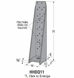 """Simpson Strong Tie HHDQ11-SDS2.5  15-1/8"""" Heavy Duty Hold Down w/SDS Screws"""