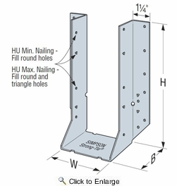 Simpson Strong Tie HU28-2  Double 2x8 Heavy Duty Joist Hanger