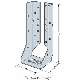 "Simpson Strong Tie HUCQ1.81/11-SDS  1-13/16"" x 11"" Heavy Duty Glulam Hanger Concealed/Reverse Flange w/SDS Screws"