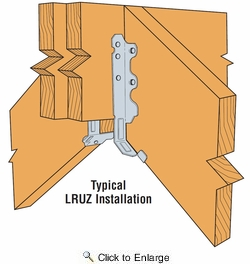 Simpson Strong Tie LRU28Z  2 x 8 Rafter Hanger with Adjustable Slope Z-Max Finish