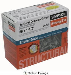 "Simpson Strong Tie SD9112R100  #9 x 1-1/2"" Strong-Drive Galvanized Hex Head Connector Screw 100 per Package"
