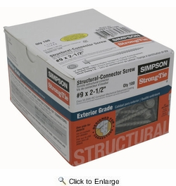 """Simpson Strong Tie SD9212R100  #9 x 2-1/2"""" Strong-Drive Galvanized Hex Head Connector Screw 100 per Package"""