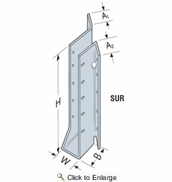 Simpson Strong Tie SUR26Z  2 x 6 Face Mount Joist Hanger Skewed 45° Right Z-Max Finish