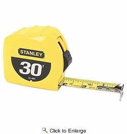 """Stanley 30-464  30' x 1"""" High-Visibility Tape Measure - Yellow"""