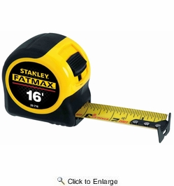 """Stanley 33-716  16' x 1-1/4"""" FatMax Tape Measure with Blade Armor Coating"""