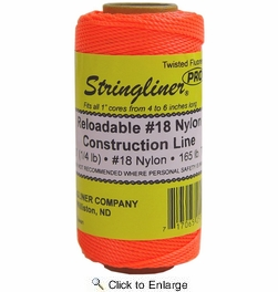 Stringliner 35106  270' Twisted Nylon Construction Line Fluorescent Orange 1/4-lb. Replacement Roll