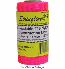 Stringliner 35109  270' Twisted Nylon Construction Line Fluorescent Pink 1/4-lb. Replacement Roll