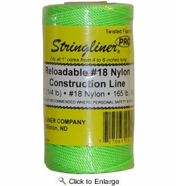 Stringliner 35115  270' Twisted Nylon Construction Line Fluorescent Green 1/4-lb. Replacement Roll