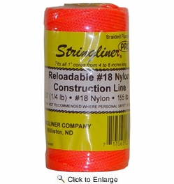Stringliner 35159  250' Braided Nylon Construction Line Fluorescent Orange 1/4-lb. Replacement Roll