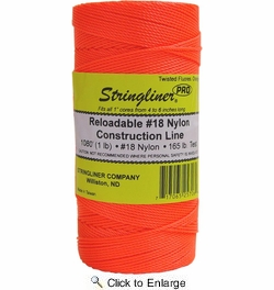 Stringliner 35706  1080' Twisted Nylon Construction Line Fluorescent Orange 1-lb. Replacement Roll