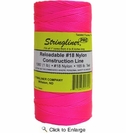 Stringliner 35709  1080' Twisted Nylon Construction Line Fluorescent Pink 1-lb. Replacement Roll