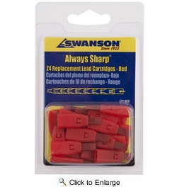Swanson CPLRED  Red Replacement Lead Cartridges for AlwaysSharp Carpenter Pencil - 24 per package