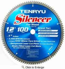 "Tenryu SL-305100  12"" x 100-Tooth Silencer Series Miter Saw Blade for Ultra Finish Cutting"