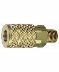 """Tru-Flate 13-125  1/4"""" Tru-Flate Design (""""T"""" Style) Air Line Quick Disconnect Coupler with 1/4"""" NPT Male Thread"""