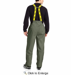 Viking Wear  3305P Men's Green Journeyman 420D Rain Bibs with Detachable Bib - Medium