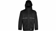 Viking Wear 3307J  Men's Black Journeyman 420D Nylon Rain Jacket with Hood - Medium