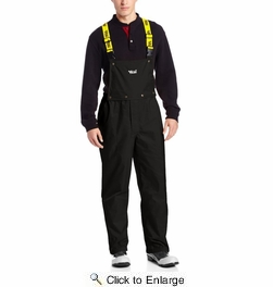 Viking Wear 3307P  Men's Black Journeyman 420D Nylon Rain Pants with Detachable Bib - 2XLarge