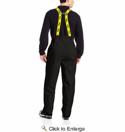 Viking Wear 3307P  Men's Black Journeyman 420D Nylon Rain Pants with Detachable Bib - Large