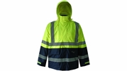 Viking Wear D6335JG  Professional Journeyman Hi-Vis 300D Trilobal Safety Rain Jacket with Hood - Large