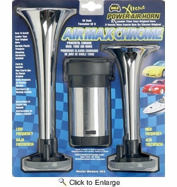 Wolo 403  Air Max Chrome Dual Tone Air Horn Kit with Compressor