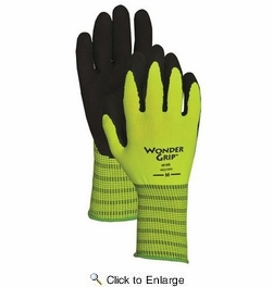 Wonder Grip WG310HV  Extra-Grip High Visibility Latex Palm Gloves - Medium