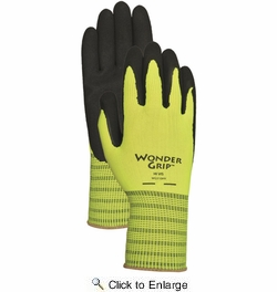 Wonder Grip WG310HV  Extra-Grip High Visibility Latex Palm Gloves - Small