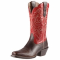 Ariat Women's Round Up Square Toe Washed Brown/Red Ariat 10011890