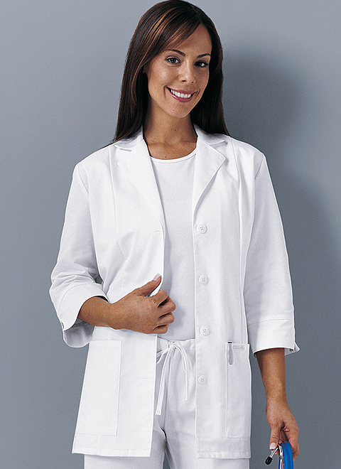 Cherokee 3/4 Sleeve Ladies Labcoat White 1470