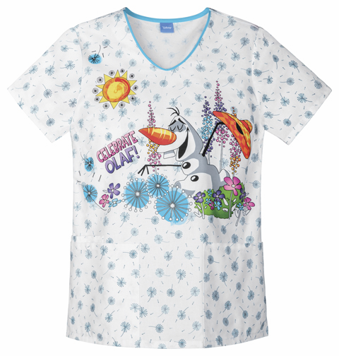 Frozen Celebrate Olaf Disney V neck Print scrub top 6899cb FZCF