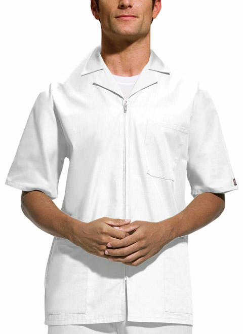 Mens Zip Front Dental short sleeve Pharmacy Tech Jacket (MedMan)
