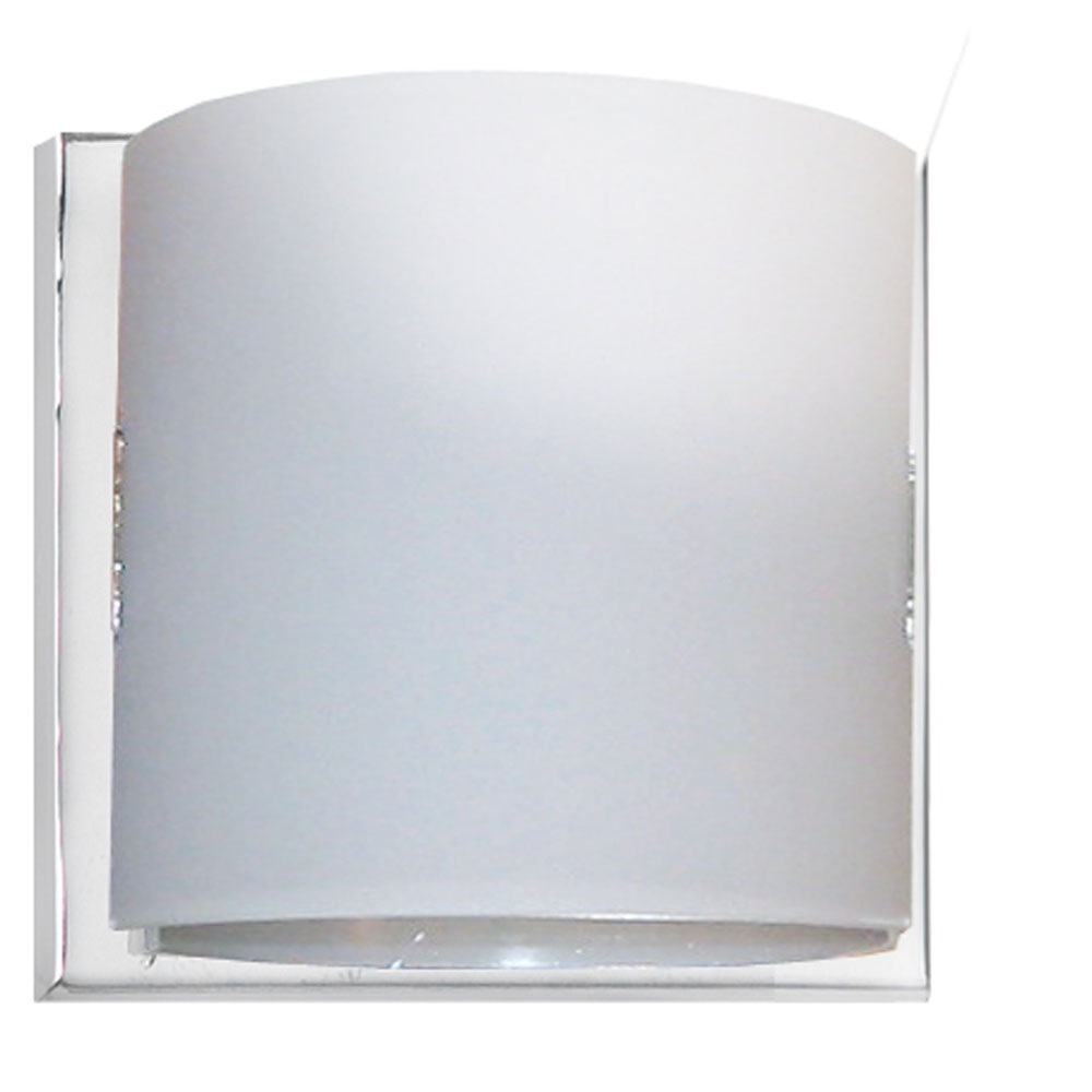 Wall Lights Frosted Glass : Dainolite Lighting (V030-1W-PC) 1 Light Wall Sconce in Polished Chrome with Frosted White Glass