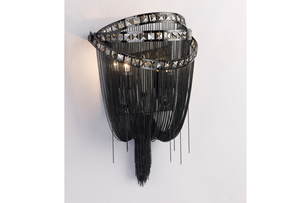 2 Light Jewelry Chain and Crystal Wall Sconce shown in Black Chrome / Smoke Crystal by Avenue ...