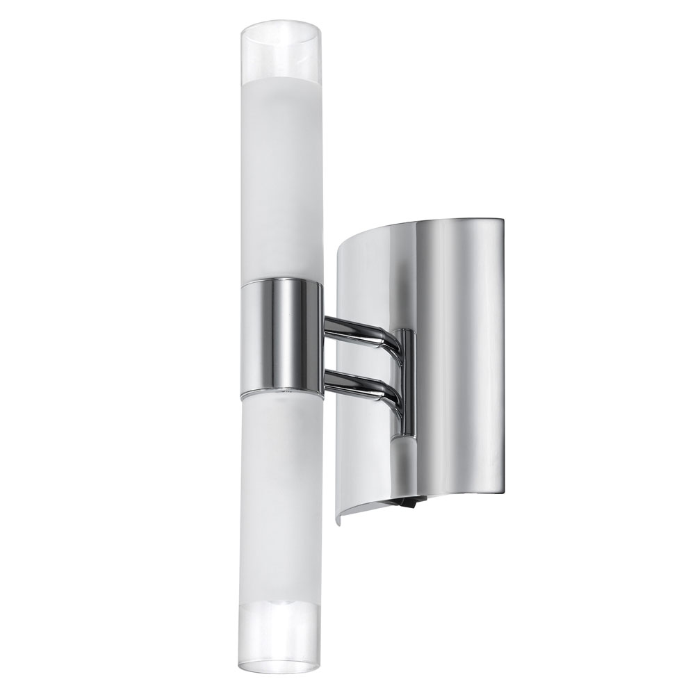 Chrome Flush Wall Lights : Dainolite Lighting (85035A-PC) 2 Light Wall Sconce in Polished Chrome with Clear & Frosted Glass