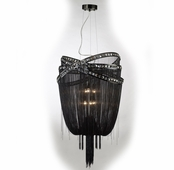 6 Light Jewelry Chain and Crystal Hanging Fixture shown in Black Chrome / Smoke Crystal by Avenue Lighting