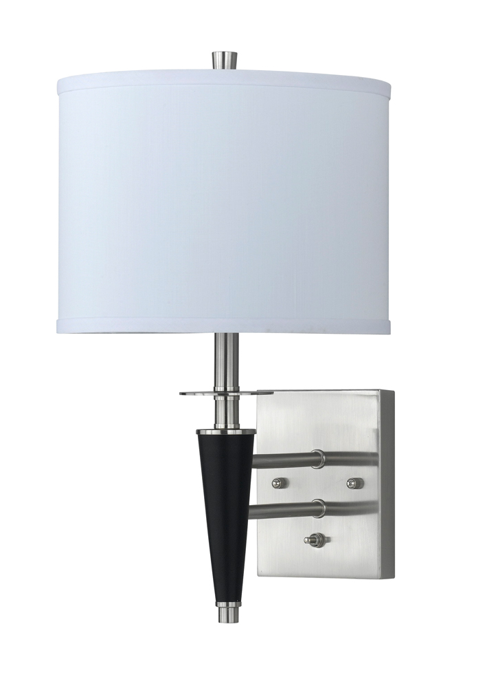 60W Metal Wall Lamp with On Off Push Button Switch shown in Brushed Steel/Black by Cal Lighting ...