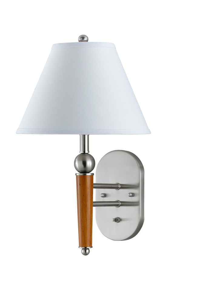 60W Metal Wall Lamp with On Off Push Button Switch shown in Brushed Steel/Wood Accents by Cal ...