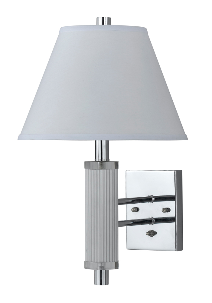 60W Metal Wall Lamp with On Off Push Button Switch shown in Chrome by Cal Lighting - LA-8003WL-1CH