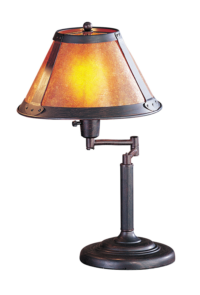 60W Swing Arm Table Lamp with Mica Shade shown in Rust by Cal Lighting - BO-462