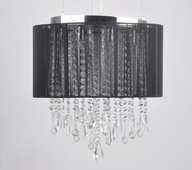 8 Light Dual Mount Hanging or Flush Mount Fixture shown in Black Silk String by Avenue Lighting
