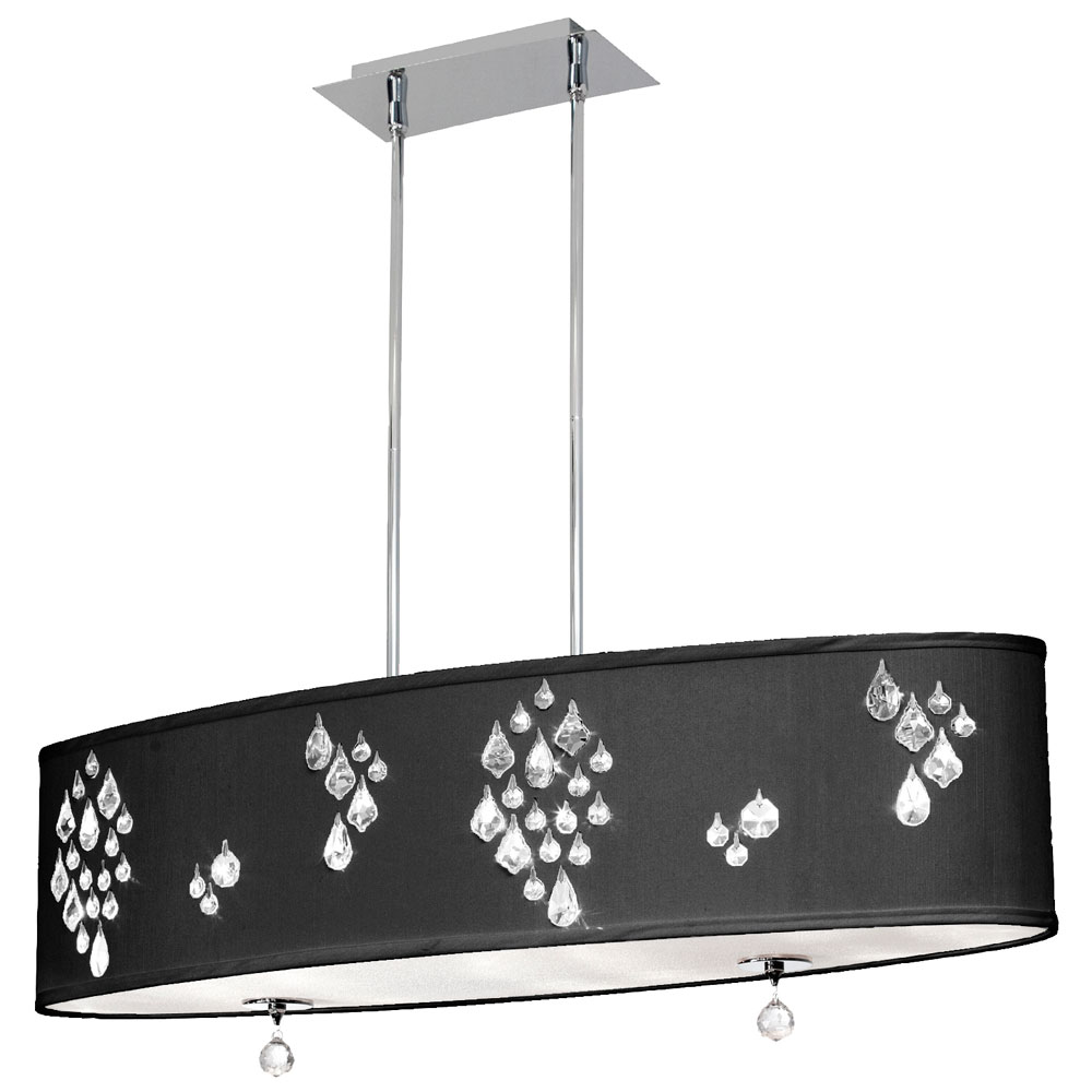 Crystal buffet lamps - Crystal Accents In Polished Chrome With Black Baroness Shade Amp Clear